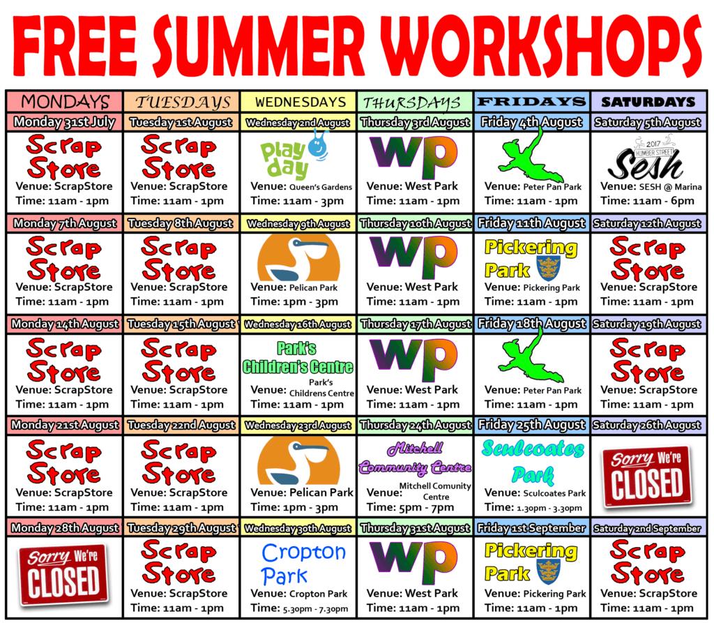 ScrapStore Summer Schedule